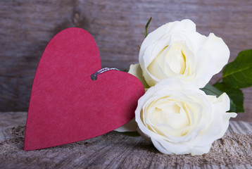 Red Heart with White Roses