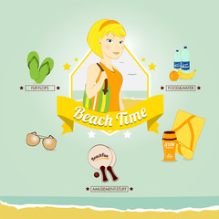 Young woman ready for beach, vector illustration