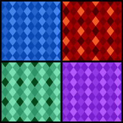 Set of color seamless patterns with rhombus