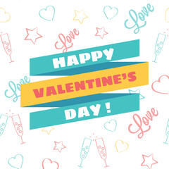 Vector Happy Valentine's Day Illustration with Cool Background