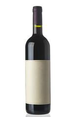 Red wine bottle on white background