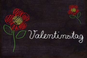 Schultafel, Blumen und Text, Valentinstag