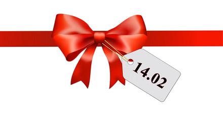 rote Schleife mit Label 14.02 schwarz