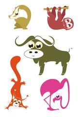 Cartoon funny animals set for design 5