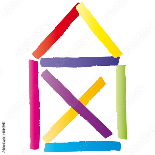 Haus strichzeichnung  Ein Haus bauen, Eigentum schaffen - Strichzeichnung