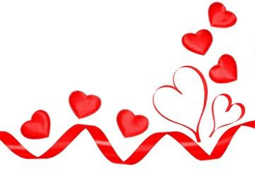 Ribbon border or frame of hearts over white