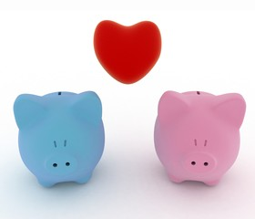 Two piggy-bank with heart. 3d illustration on white