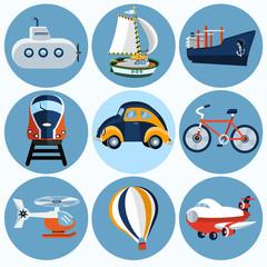 Flat transport icon  , set