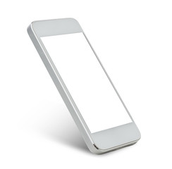 white smarthphone with blank black screen