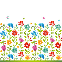 Bright floral seamless border with butterfly and hearts.