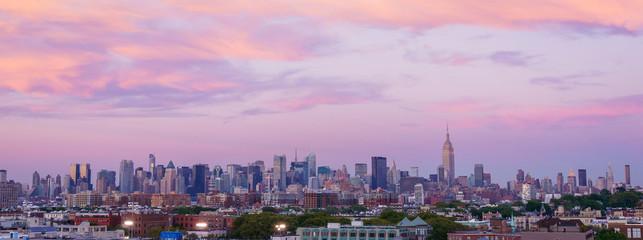 Dramatic sunset over New York City