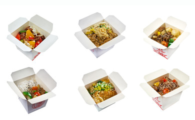 set ofchinese cuisine in take-out box