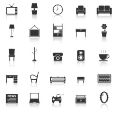 Living room icons with reflect on white background