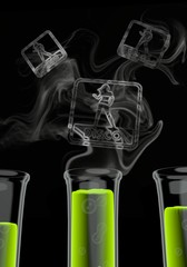 3d render of a scientific disco icon formed by smoke