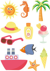 Summer and vacation icons