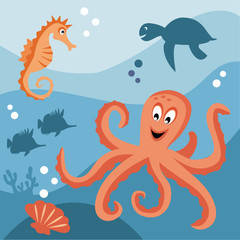 Octopus, sea horse, turtle and tropical fishes in the sea.