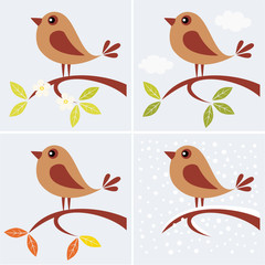 tree branch and cute bird in four seasons.