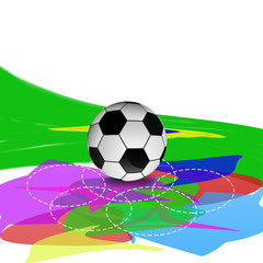 soccer ball on brazil flag  brush paint style