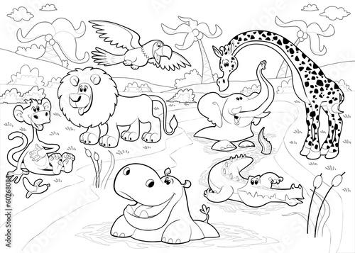 Раскраски джунгли животные