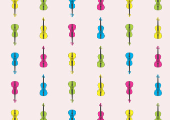 Postacrd with colored violins