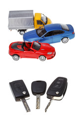 three vehicle keys and model cars