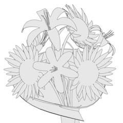 cartoon illustration of flower bouquet