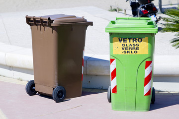 Trash cans and containers for garbage separation