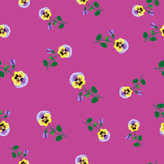 Seamless Flowers On Pink Background