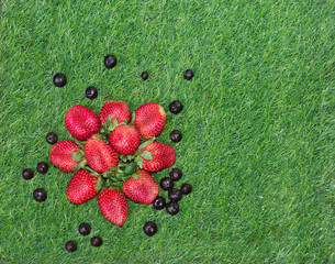 Heart shaped Blueberries and strawberries on green grass