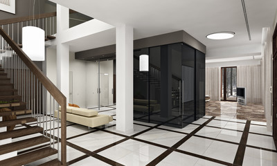 Luxury hall with staircase in a new house