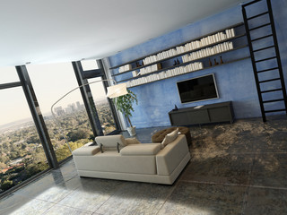 Living room interior with bookshelf on blue wall