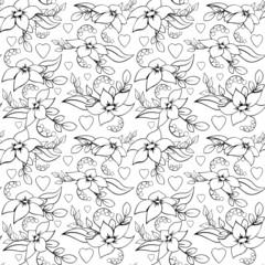 Seamless Love Flower Pattern White