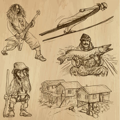 SCANDINAVIA set no.5 - Collection of hand drawn illustrations
