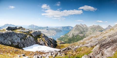 Panoramic shot of fjord and mountains in Northern Norway