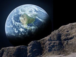 Wall Mural - Earth seen from the moon.
