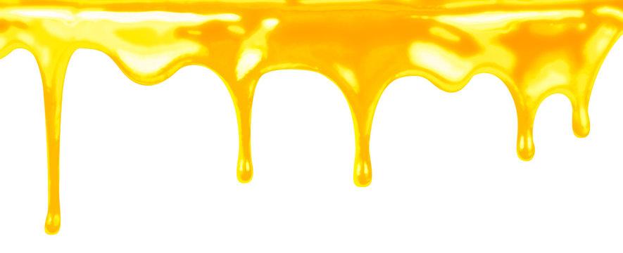 honey dripping on white background