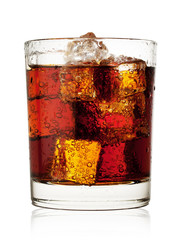 Round glass of cola with ice