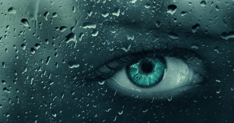 blue abstract eye closeup