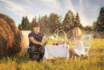 lovers picnic in field