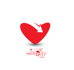Valentine Day Heart Arrow Design.