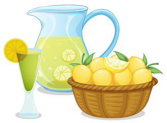 A basket of lemon beside the pitcher with lemonade