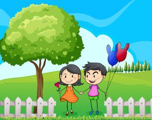 Lovers near the tree