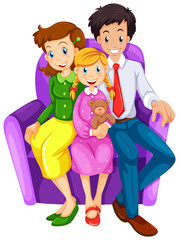 A happy family sitting on a couch