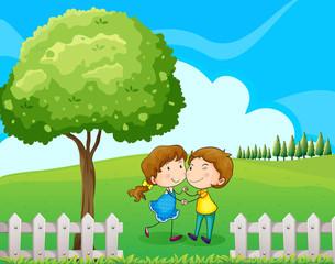 A couple near the tree