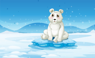 A polar bear in a snowy area
