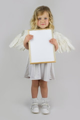 Angel with  white blank board