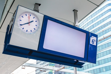 Empty platform information display on a Dutch railway station