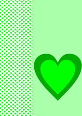 Karte Hintergrund hellgrüne Herzen ein grünes Herz