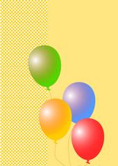 Karte gelbe Karos mit bunten Luftballons