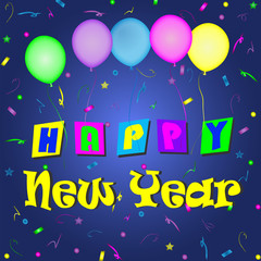New Year-Colorful Balloons and Scattered Confetti